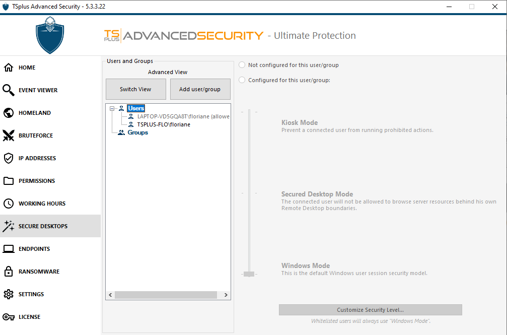 TSplus AS - Advanced view Secure Desktops screenshot